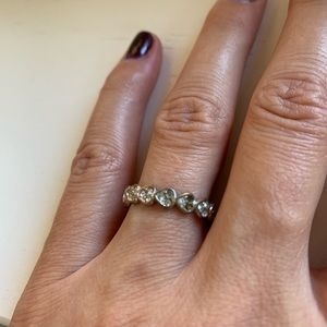 Vintage Jewelry - Vintage silver heart & rhinestone band ring